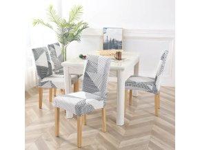 Elastické potahy na židle se stylovým vzorem