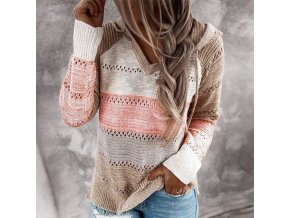 mainimage0Autumn Women Patchwork Hooded Sweater Long Sleeve V neck Knitted Sweater Casual Striped Pullover Jumpers 2020