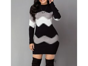 mainimage02021 New Fashion Knitted Multi color Top Spring Autumn wave striped Casual Long sleeved thin Sweater
