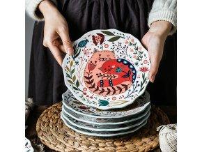 Ručně malované keramické talíře KITTEN