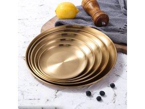 Zlaté kulaté talíře GOLDEN