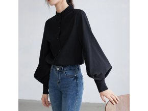 0 main big lantern sleeve blouse women autumn winter single breasted stand collar shirts office work blouse solid vintage blouse shirts
