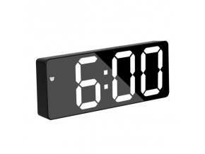 0 main acrylicmirror alarm clock led digital clock voice control snooze time temperature display night mode reloj despertador digital