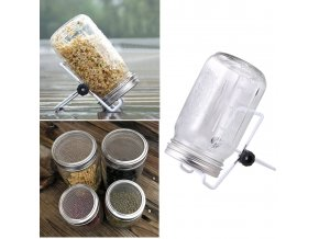 mainimage01 Set Glass Sprouter Jars Wide Mouth Mason Jars Seed Sprouting Jar Kit for Home Kitchen