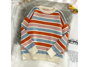 variantimage0New 2020 Women Stripe Sweater Autumn Winter Loose Long Sleeve Pullover Tops Korean Ladies Knitted Patchwork
