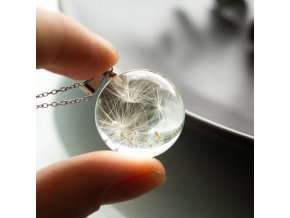 mainimage1Dandelion Wishing Necklace Real Dandelion Seeds In Clear Crystal Glass Ball Pendant Necklace Handmade Jewelry Gift