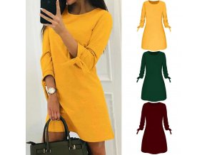 mainimage0New Dress For Women O neck Solid Bow Elegant Winter Straigth Dress Spring Loose Mini Dresses