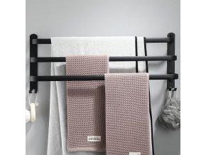 Nástěnný věšák na ručníky - držák na ručníky - koupelnové doplňky - BLACK