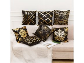mainimage1RULDGEE Gold Pillow Case Black And White Golden Painted Pillowcase Decorative Christmas Cushion Cover For Sofa