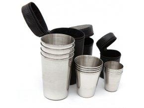 Sady 4ks nerezavých kelímků - nerezové kelímky - cestovní sada - cestovní skleničky - cestovní panáky