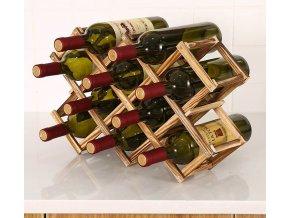 Regál na víno - domácí dřevěná vinotéka - stojan na víno - FINE WINE