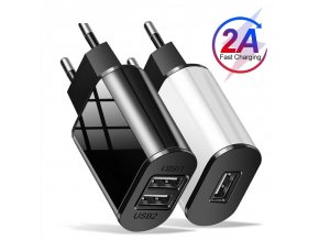 0 main universal mobile phone charger 5v1a5v2a usb travel charger portable wall charger for iphone samsung adapter eu plug blackwhite