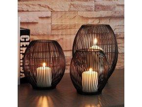 mainimage0Hollow iron Candle Holder candlestick lantern Geometric Shapes centro de mesa Black Coffee Table Living Room