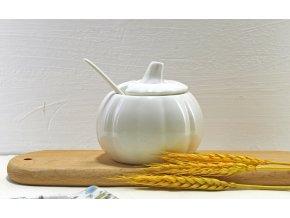Porcelánová cukřenka / nádoba na cukr / porcelán / nádoba na med / dávkovač na cukr / bílá cukřenka WHITE