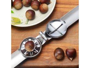 Louskáček na ořechy NUTS / otvírák na ořechy / kleště na jedlé kaštany / nerezový louskáček / nerezové nádobí / kuchyňské potřeby / louskáček 2v1