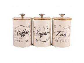 3ks sada - Ozdobné dózy na potraviny / cukřenka + dóza na kávu TIME