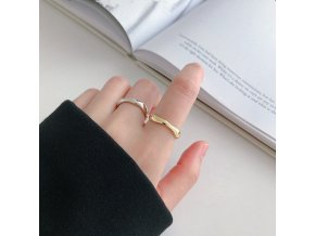 mainimage4100 925 Sterling Silver Open Ring for Women INS Minimalist Irregular Wave Pattern Gold Color Jewelry
