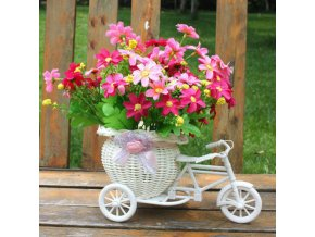mainimage02019 New Bicycle Decorative Flower Basket Newest Plastic White Tricycle Bike Design Flower Basket Storage Party