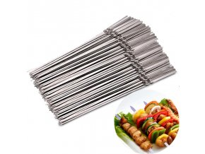 0 main 15pcs reusable flat stainless steel barbecue skewers bbq needle stick for outdoor camping picnic tools cooking tools