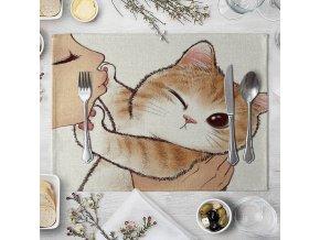 Bavlněné prostírání / prostírání na stůl pro milovníky koček KITTEN