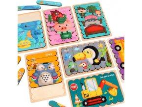 Dřevěné puzzle pro děti DOUBLE