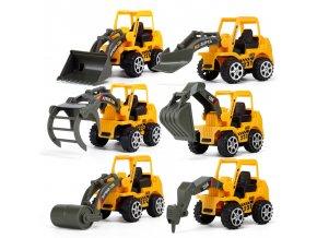 Sada 6 ks - autíčka na hraní / bagry, stavební stroje, auta BULLDOZER