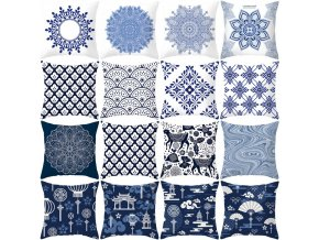mainimage0Mandala Blue and White Porcelain Series Cushion Cover Polyester Pillow Case Home Decorative Pillows Cover for