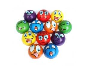 6ks míčky pro děti / antistresové míčky FACE