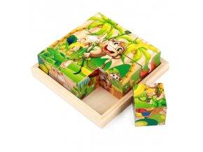 Dřevěné puzzle / dřevěné kostky s obrázky MONKEY