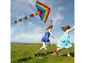 mainimage0Large Colorful Rainbow Kite Long Tail Nylon Outdoor 30m Surf Kids Toys Flying Kid With Kite