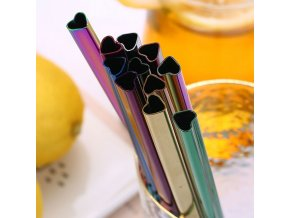 mainimage01Pcs Drinking Straw Reusable Metal Straw Set Heart shaped Bubble Tea Straws 304 Stainless Steel Pearl