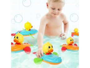 mainimage01 Pcs Summer New Baby Bath Toy Rowing Boat Duck Swim Bath Floating Water Wound up