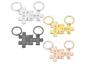 Přívěsky pro páry / přívěsek na klíče pro pár PUZZLE