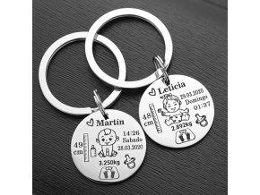 Přívěsek na klíče / přívěsek na přání / dárek k narození dítěte BABY