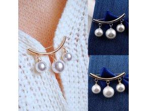 Nádherná brož s perlami / ozdobný špendlík PEARL