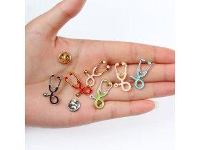 Odznak - stetoskop / lékařský odznak DOCTOR