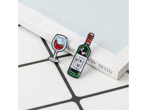 Krásné odznaky pro milovníky vína / brož WINE TIME