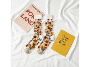 Stylové průhledné ponožky / veselé ponožky SUNFLOWER