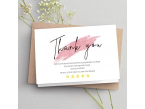 30 ks karta s poděkováním / blahopřání / poděkování pro zákazníky THANK YOU