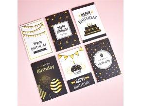 6 ks blahopřání / karty s poděkováním / přání k narozeninám KIND