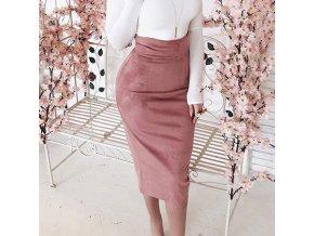 Semišová midi sukně