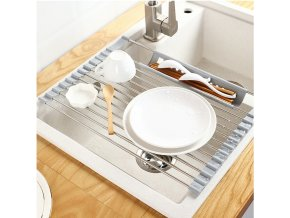 mainimage0Multifunction Dish Drying Rack Sink Drain Rack Shelf Basket Bowl Sponge Holder Dish Drainer Dryer Tray