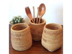 mainimage0Manual Rattan Chopsticks Tube Shovel Spoons Bucket Dinner Knives Forks Tableware Storage Box Home Storage Baskets (1)