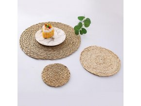 mainimage5Mats Corn Water Grass Handmade Weave Round Coaster Pad Heat Insulation Placemat Table Decoration Accessories Wholesale