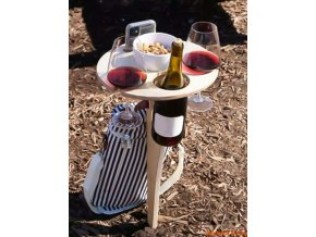 mainimage1Outdoor Wine Table with Foldable Round Desktop Mini Wooden Picnic Table for Picnic Camping Wine Table