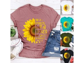 variantimage4Plus Size 5XL New Fashion Pink Tee Shirts Short Sleeve O Neck Sunflower Letters for Women