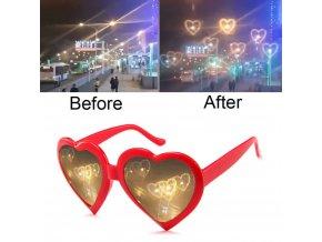 Magické sluneční brýle / sluneční brýle s efekty / difrakční brýle měnící světlo do tvaru srdce