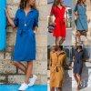 Dámské dlouhé šaty (barva Modrá, Velikost M)