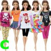 12 variant 5 set 3 set handmade fashion outfit daily casual wear blouse shirt vest bottom pants skirt clothes for barbie doll accessories