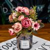 3 variant autumn fake tea rose silk flower fall gerbera daisy artificial plastic flower for wedding home accessories decoration room decor (1)